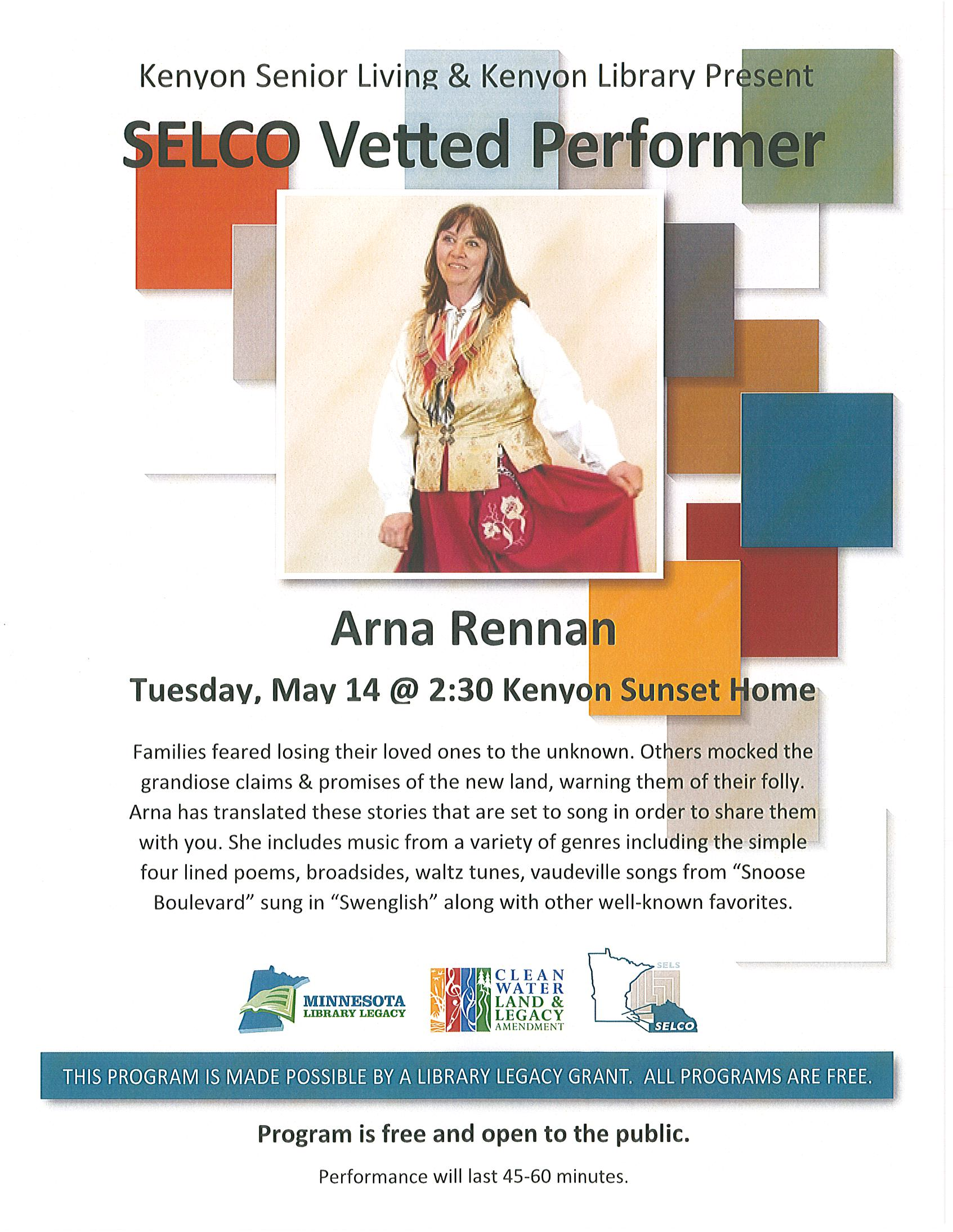 Arna Rennan: Scandinavian Storytelling & Song May 14 at 2:30 pm Kenyon Sunset Home