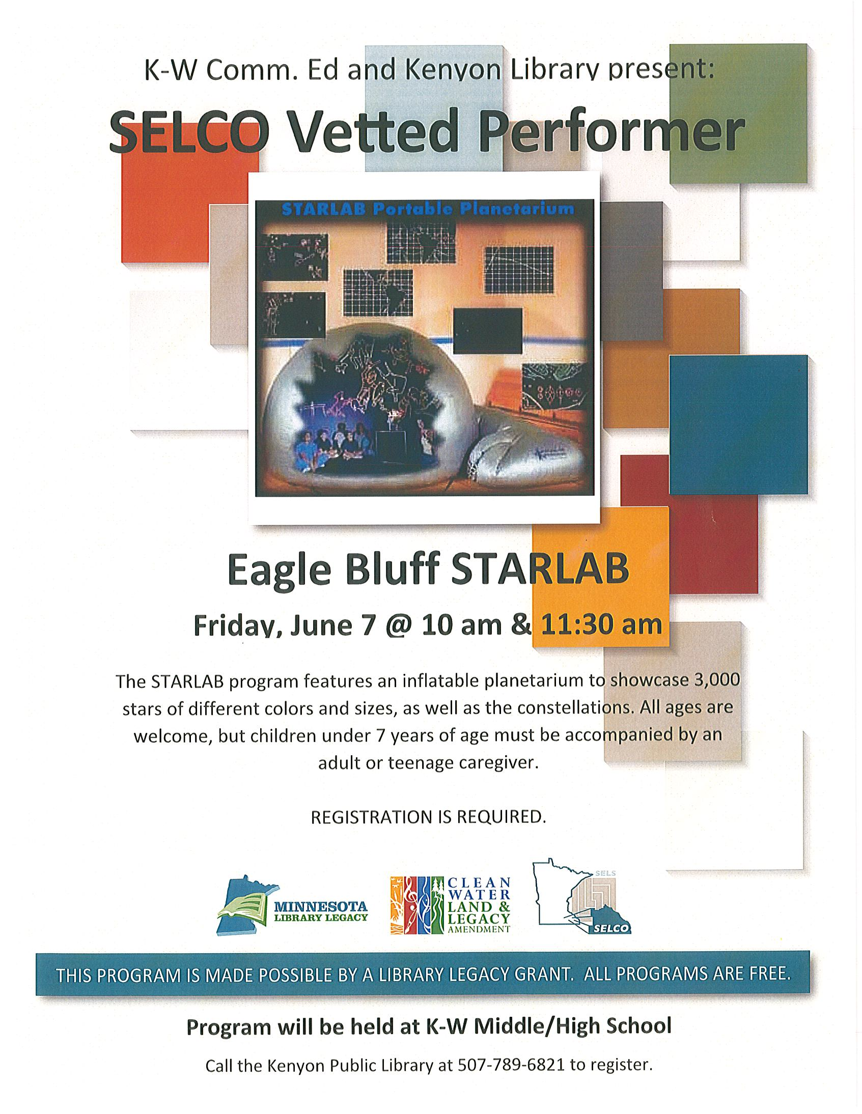 Eagle Bluff Star Lab June 7 @ 10 am & 11:30 am